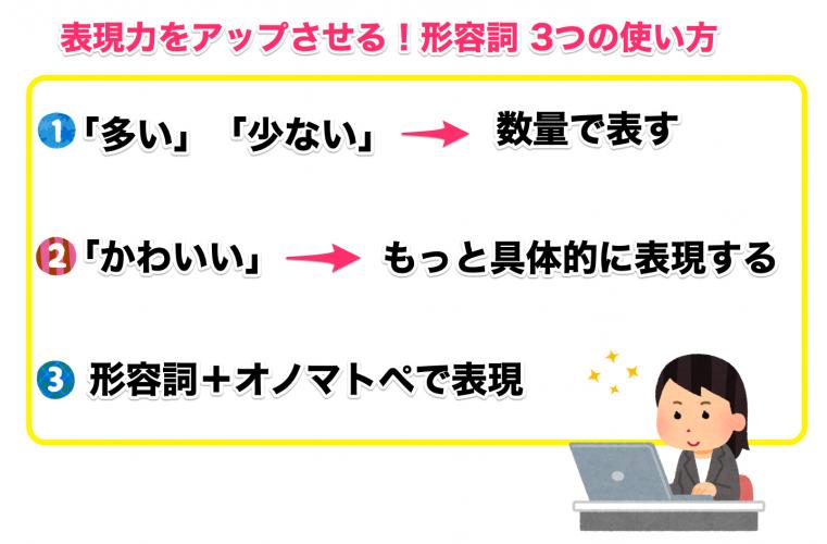 表現力をアップさせる形容詞3つの使い方